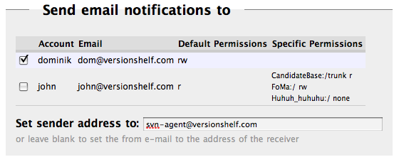 email notification hook settings